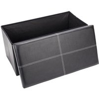 Folding Storage Ottoman Bench, 76 x 38 x 38cm Leather Seat Foot Stool Storage Box with Lids for Living Room Bedroom Hallway (Black)