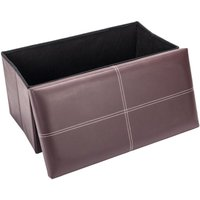 Folding Storage Ottoman Bench, 76 x 38 x 38cm Leather Seat Foot Stool Storage Box with Lids for Living Room Bedroom Hallway (Brown)