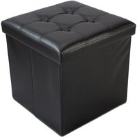 Sotech - Folding Storage Ottoman, Leather look folding Bench, 38 x 38 x 38 cm (15 x 15 x 15 inch), Black, Stitched and tufted finish, Maximum load:
