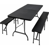Tectake - Folding table with benches in a rattan look - camping table, trestle table, folding table and chairs - black