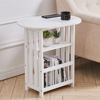 Folding Side End Table Wooden Magazine Rack Storage Shelf,3 Tier