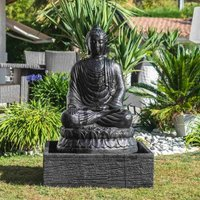 Fontaine de jardin bouddha assis 1 m 20 patiné noir - WANDA COLLECTION