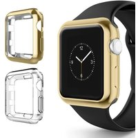 for Apple Watch 3 Bumper 42mm 38mm, Soft TPU Protective Case Cover for Apple Watch Series 1 Series 2 Series 3 Nike+ Sport Edition (Gold/Clear, 38mm)