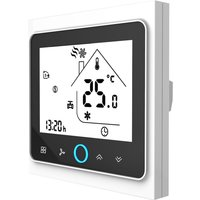 Four Pipe Intelligent Room Thermostat Digital Programmable Temperature Controller for Air Conditioner (BAC-002EL, White and Black),model:White and Black