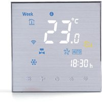 Four Pipe Wifi Voice Intelligent Room Thermostat Digital Programmable Temperature Controller for Air Conditioner (BAC-3000ELW, Silver),model:Silver