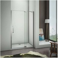 1950mm Height Frameless Pivot 800mm Door Walk in Shower Enclosure 8mm Glass Screen Cubicle with 1100x800mm Shower Tray Free Waste