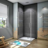 1850mm Height Frameless 800mm Pivot Shower Door Enclosure with 700mm side panel with 800x700mm Tray Waste