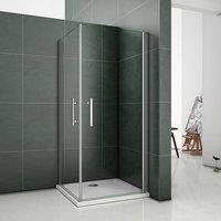 90x90x185cm Frameless Pivot Shower Enclosure Glass Door Screen - Aica