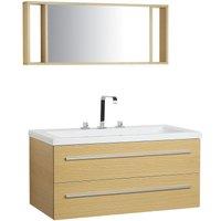 Floating Bathroom Vanity Set Light Wood BARCELONA - BELIANI