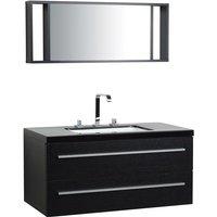 Floating Bathroom Vanity Set Black BARCELONA - BELIANI