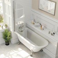 Freestanding 1500mm Traditional Roll Top Bath White Single Ended Legs Screen