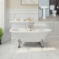 Freestanding Bathroom Suite Traditional Roll Top Bath Pedestal Basin and Toilet