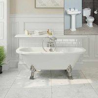 Park Lane - Freestanding Traditional Bathroom Suite Roll Top Bath Pedestal Basin and Toilet
