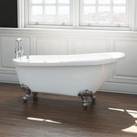 Freestanding Traditional Single Ended Slipper Bath With Ball and Claw Feet 1555mm - Brentwood By Synergy