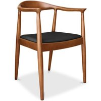 Fridolf scandinavian style chair Wegner Style - Faux Leather Black - PRIVATEFLOOR