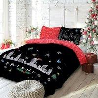 Polycotton Christmas Scene Duvet Cover Set (King) (Multicoloured) - Friends