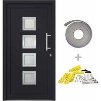 Front Door Anthracite 98x200 cm - Grey - Vidaxl