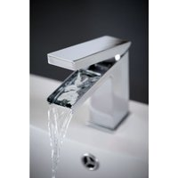 Frontline Bathrooms - Frontline Razor Square Mini Waterfall Deck Mounted Basin Mixer Tap with Full Cascade Spout