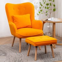 Frosted Velvet Wingback Lounge Armchair and Footstool,