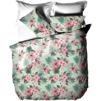 Floral Hibiscus Duvet Cover Set (King) (Green/Pink) - Furn