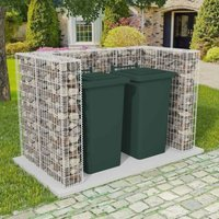 Zqyrlar - Gabion Double Wheelie Bin Surround Steel 180x100x120 cm - Silver