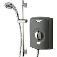 SE Black Graphite 9.5se Electric Shower 9.5kw + Chrome Riser Kit - Gainsborough