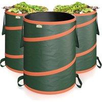 GARDEBRUK 3x Pop Up Garden Waste Bag Set Size Choice (165 L)