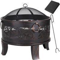 Fire Pit Garden Patio Firepit Brazier Outdoor Steel Firebowl Heater Burner Chimenea Camping Spark Guard Poker - Gardebruk