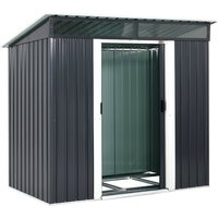 L Metal Tool Shed 2m² With Foundation 196x122x180cm 2 Windows Anthracite Garden House 3.4m³ - Gardebruk