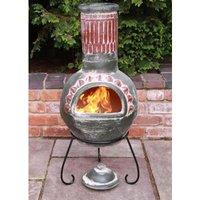 Gardeco Plumas Green Mexican Clay Chimenea Fire Pit Garden Heater Large