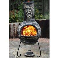 Gardeco Wulfryc Wolf Grey Mexican Clay Chimenea Fire Pit Garden Heater Large