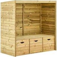 Garden Arbour Bench with 3 Drawers 170 cm Solid Pinewood - Brown - Vidaxl