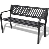 Garden Bench 118 cm Steel Black - ASUPERMALL