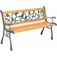 Garden bench Marina made of wood and cast iron - wooden bench, wooden garden bench, outdoor bench - brown