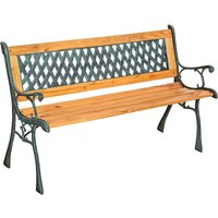 Garden bench Tamara made of wood and cast iron - wooden bench, wooden garden bench, outdoor bench - brown