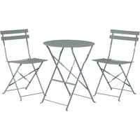 Beliani - Outdoor Patio 3 Piece Bistro Set Grey Steel Round Table and Chairs Fiori