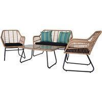 Garden Bistro Set Handwoven Wicker Rattan Set Patio Chair Glass Top Coffee Table - TALKEACH