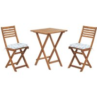 Beliani - Outdoor Garden Furniture Bistro Set Folding Light Wood White Blue Cushions Fiji
