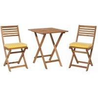 Beliani - Outdoor Garden Furniture Bistro Set Folding Light Wood Yellow Cushions Fiji