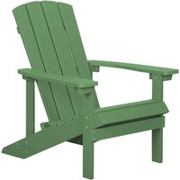 Beliani - Outdoor Lounger Chair Green Plastic Wood for Patio Yard Adirondack