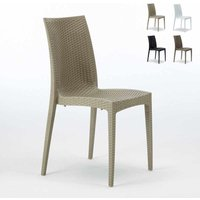BISTROT Stackable Rattan Garden Indoor Chair by Grand Soleil | Cream