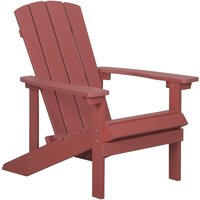 Beliani - Outdoor Lounger Chair Red Plastic Wood for Patio Yard Adirondack