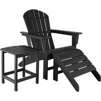 Garden chair with footrest and weatherproof side table - garden table and chairs, bistro set, sun loungers - black