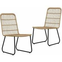 Zqyrlar - Garden Chairs 2 pcs Poly Rattan Oak - Brown