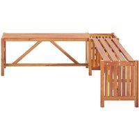 Garden Corner Bench with Planter 117x117x40 cm Solid Acacia Wood