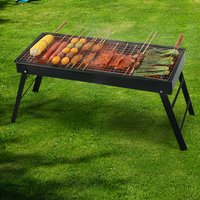 Livingandhome - Garden Foldable BBQ Charcoal Grill Outdoor Picnic Barbecue Fire Pit Stove Black