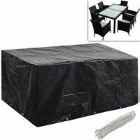 Zqyrlar - Garden Furniture Cover 6 Person Poly Rattan Set 10 Eyelets 240x140cm - Black