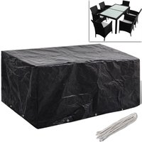 Asupermall - Garden Furniture Cover 6 Person Poly Rattan Set 10 Eyelets 240x140cm