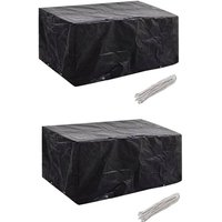 Garden Furniture Covers 2pcs 4 Person Poly Rattan 180x140cm - Black