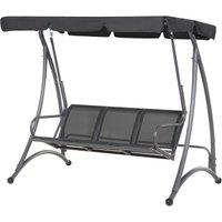 Beliani - Modern Outdoor Swing Black Mesh Seat Polyester Canopy Steel Frame Bogart